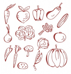 Sketch of vegetables vector