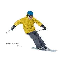 Skier on slope vector