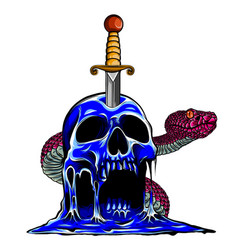 skull snake evil and knife vector image