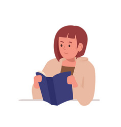 Smart girl sitting at desk and reading book vector