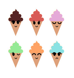 smiled ice cream set vector image