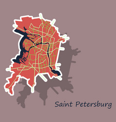 Sticker color map of the centre of st petersburg vector