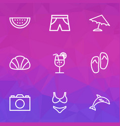 summer outline icons set collection of conch vector image