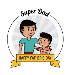 Super dad happy fathers day card dad and son vector