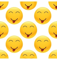 Teasing emoticon pattern vector image