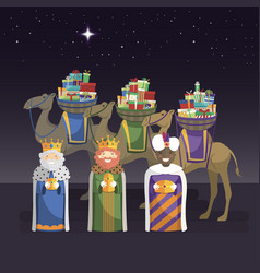 Three kings with camels and gifts at night vector