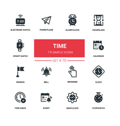 time concept - line design silhouette icons set vector image