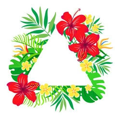 Tropical flowers frame triangular shape vector