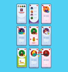 ui dating apps virtual lovers smartphone chatting vector image