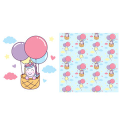 unicorn ride basket with air balloon with vector image