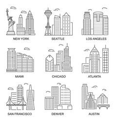 Usa cities sign contour linear icon set vector