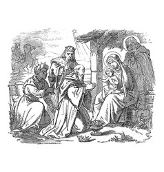 Vintage drawing biblical story three wise vector