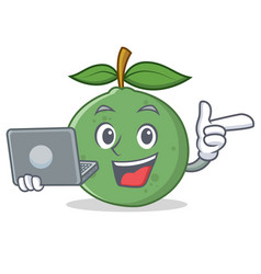 With laptop guava character cartoon style vector