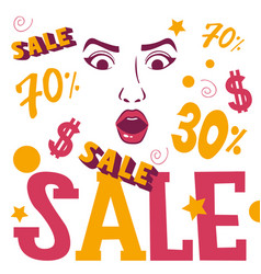 woman face shopping sale banner vector image