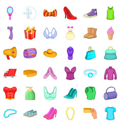 Woman shoe icons set cartoon style vector