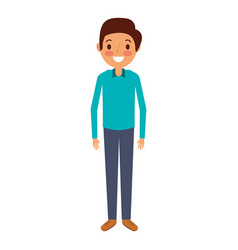 young man standing happy smile character vector image