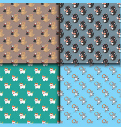 Circus cats seamless pattern cheerful vector