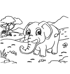 Elephant Coloring Pages vector image vector image