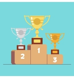Gold silver and bronze medals on the podium vector image