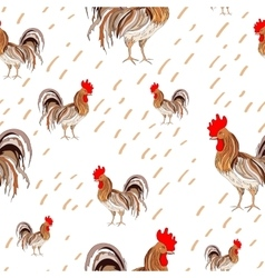 pattern depicting colored rooster on vector image