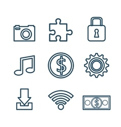 set icons digital design vector image vector image
