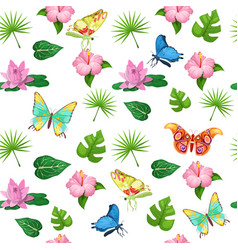 tropical flowers and butterflies seamless pattern vector image vector image
