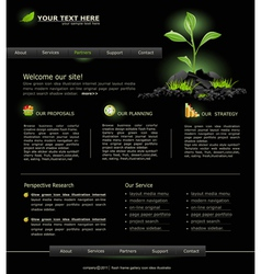 web site for business black with green sprout vector image vector image