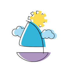 Cute sailing boat with clouds and sun vector