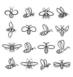 honey bee icons vector image
