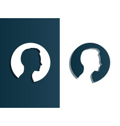 person silhouette head men - isolated vector image vector image