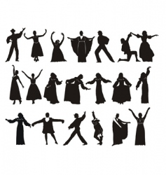 silhouette medieval dancers vector image vector image