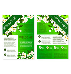 spring flowers welcome brochure template design vector image