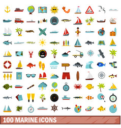 100 marine icons set flat style vector