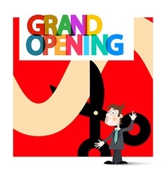 Grand Opening Retro with Business Man on Red vector image