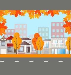 town street view buildings in autumn season vector image vector image