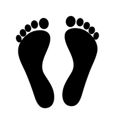 Two black man footprints isolated on white vector image