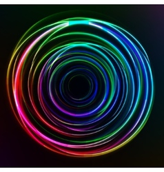 Abstract colorful Glow Circles on dark background vector image vector image