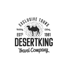 camel logo template concept travel company vector image vector image