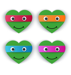 cartoon paper turtle - heart vector image vector image
