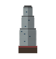 Downtown skyscraper with skyline reflections on vector