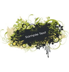 grunge floral graphic banner vector image vector image