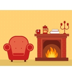 room interior with fireplace and armchair vector image vector image