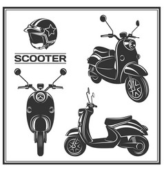 scooter silhouette set vector image