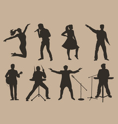 set of brown silhouettes of musicians singers and vector image