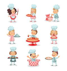 set of little cook chief kids cartoon characters vector image vector image