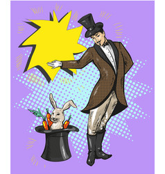 vintage magician with rabbit in hat vector image