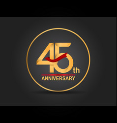 45 anniversary design golden color with ring vector