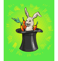 A cute cartoon magicians bunny rabbit coming out vector