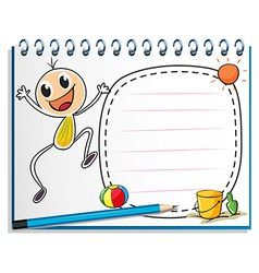 A notebook with a drawing of a child jumping vector image