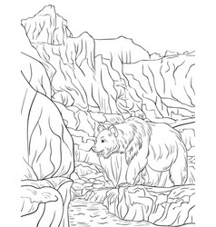 Adult coloring bookpage a nature landscape image vector